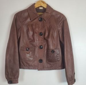 Michael Kors   Leather button up jacket